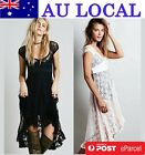 Short Sleeve Wedding Bridesmaids Formal Cocktail Prom Party Lace Hight Low Dress