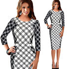 3/4 Sleeve Formal Women Plaids Check Sheath Bodycon Work Pencil tunic Dress B229