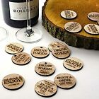 Personalised Rustic Wooden Drink Tokens Wedding Favours Vintage Voucher Circles