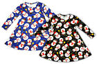 Girls Xmas Snowman Print Long Sleeve Christmas Swing Party Dress 3 to 13 Years