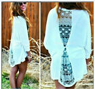 New Fashion Womens Loose Chiffon Lace Tops Long Sleeve Shirt Casual Blouse