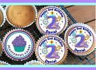 24 PERSONALISED 2nd BIRTHDAY BLUE DESIGN 1 CUPCAKE TOPPER RICE, WAFER or ICING