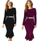 Women Metal Wiggle Pencil long Sleeve Bodycon Evening Party Merraid Dress B242