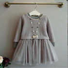 Fashion Girls Kids Grey Sweater Top With Dresses Outfit Suit Set 2 Pcs 2-7 Years