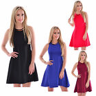 Ladies Women Sleeveless Necklace Flared Skater Swing Stretch Party Dress 8-14