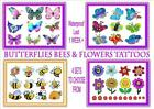 BUTTERFLY BEE FLOWER TATTOOS  waterproof   *1WEEK+*  tattoo girls party sticker