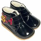 Girls Kids Toddler Childrens Faux Leather Squeaky Boots - Patent Black Fleecy