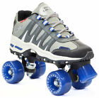 Silver / Gray Sonic Cruiser Outdoor Quad Roller Skates w/ Blue Wheels & Toe Stop