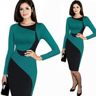Vintage Women Grid Checks  Bodycon Long sleeve Autumn Winter Pencil Dress B253