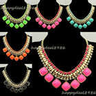 Fashion Golden Chain Rhinestone Resin Chunky Bubble Bib Statement Necklace N76
