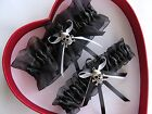NEW Sexy Biker Black Wedding Garter GetTheGoodStuff A+ Skull CrossBones Gothic