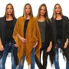ONLY DAMEN PONCHO AYA WEAVED SOLID ACC REP One size in 2 Farben