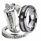 His Her 3 Pcs Nice CZ .925 Stainless Steel Black Titanium Vogue Wedding Ring Set