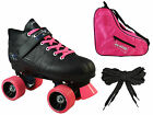 Pacer Mach-5 GTX500 Quad Roller Derby Speed Skate Bundle 2 Pr. Laces + Skate Bag