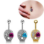 Crystal Rhinestone Skull Rose Flower Navel Belly Button Ring Bar Body Piercing