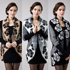Womens Winter Jumper Cardigans Sweaters Long Sleeve Floral Knitwear Outwear Coat