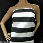 FFA-166(BLACK & WHITE 5.5cm WIDE STRIPES)COTTON CANVAS FABRIC Sample/Metre/Yard