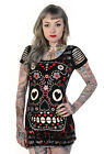 Banned Apparel Sugar Skull Slash Sleeve Scoop Neck Black Gothic Tunic Mini Dress