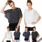 Womens 2 in 1 Polka Dot Cape Kimono Batwing Top Chiffon Blouse