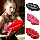 Fashion Women Lady Patent Leather Lip Evening Party Clutch Shouder Purse Handbag
