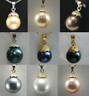 12mm white/pink/gray/black/coffee/yellow shell pearl 18KGP party pendant & chain