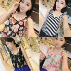 New Women Casual Chiffon Floral Sleeveless Tank Vest Tops Blouse T-shirt Top