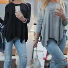 CHIC Women Loose Casual Long Sleeve Sexy Shirt Tops Blouse Tee Top Irregular