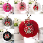 Fluffy Rabbit Fur Ladybird Pompom Ball Car Pendant Handbag Charm Key Chain Ring