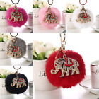 Fluffy Rabbit Fur Elephant Pompom Ball Car Pendant Handbag Charm Key Chain Ring