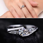 Up Women Charm Silver Plated Ring Cubic Zirconia Engagement Wedding Party