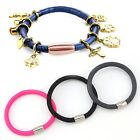 Leather Wrap Wristband Punk Magnetic Buckle Bracelet Bangle PU For DIY Charms