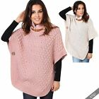 Womens Retro Knit Turtle Funnel Buckle Neck Poncho Cape Sweater Jacket Top