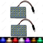 2X Car 24 SMD 3528 LED Panel Box Dome Light With T10 Festoon Adapter ZJ104