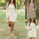 Womens Winter Long Sleeve Jumper Tops Knitted Sweater Bodycon Tunic Cool Dress