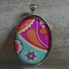 OVAL GLASS TILE PENDANT/PATTERNED/PAISLEY