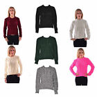 Women Ladies Long Sleeve Cable Knitted Knitwear Jumper Sweater Crop Top 8-14