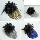 Party Black Chiffon Flower Feather Purple Silver Gold Grey Costume Hat Hair Piec