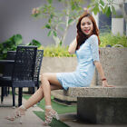 Simple Fashion Round Neck Half Sleeve Short Lace Casual Party  Dress 05416