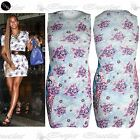 New Womens Stretchy Floral Ladies Sleeveless Celebrity Print Bodycon Mini Dress