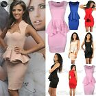 Women Ladies Celebrity Inspired Sleeveless Peplum Frill Bodycon Mini Dress 8-14