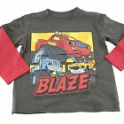 Blaze and the Monster Machines Boys Toddler l/s Shirt Size 4T 5T Gray Red