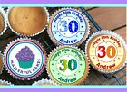 24 PERSONALISED 30th BIRTHDAY DESIGN 3 CUPCAKE TOPPER RICE, WAFER or ICING