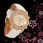 NEW Women's Watch Crystal Dial Quartz Analog Leather Bracelet Ladies Wrist Watch