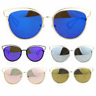 SA106 Womens Wire Horn Rim Cat Eye Revo Mirror Lens Sunglasses