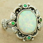 ANTIQUE STYLE SYN. OPAL 925 STERLING SILVER RING,                           #834
