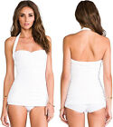 White Sleeveless Halter Strap Sweetheart Neck Ruched One Piece Swimsuit Sexy NWT