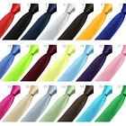 New Men's Formal Wedding Cocktail Party Groom Solid Color Slim Plain Tie Necktie