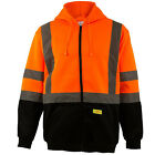 Men's ANSI Class 3 High Visibility Class 3 Sweatshirt, Full Zip Hooded -H9011/12