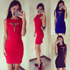 Women Sexy Sleeveless Bodycon Bandage Evening Party Cocktail Clubwear Mini Dress