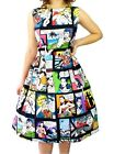 Hemet Comic Strip Comic Pleated Dress Dress Retro Vintage Psychobilly PinUp 50s